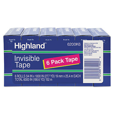 """Highland Invisible Permanent Mending Tape 3/4"""" x 1000"""" 1"""" Core Clear 6/Pack"""