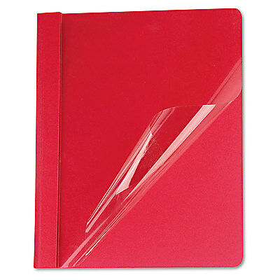 UNIVERSAL Clear Front Report Cover Tang Fasteners Letter Size Red 25/Box 57123