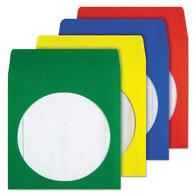 Quality Park Colored CD/DVD Paper Sleeves Assorted Colors 50/Box 68905