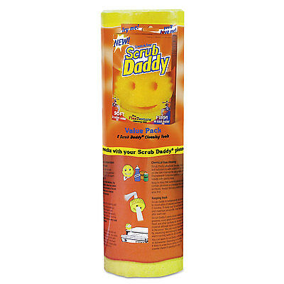 "SCRUB DADDY, INC. Scratch-Free Scrubbing Sponge, 4 1/8"" Diameter, Yellow,"