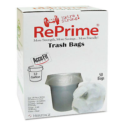 "RePrime Can Liners 32gal 0.9mil Clear 33"" x 44"" 50/Box 6 Boxes/Carton"