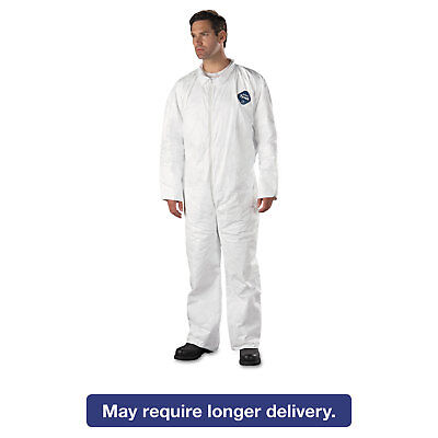 DuPont Tyvek Coveralls Open Wrist/Ankle HD Polyethylene White 2X-Large 25/Carton