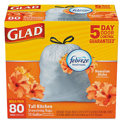 Glad OdorShield Kitchen Drawstring Bags Hawaiian Aloha 13 gal White 80/Box
