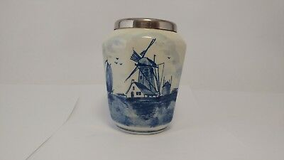 "Small Hand Painted Delft Metal Rim Blue & White Vase - 3 5/8"" Tall"