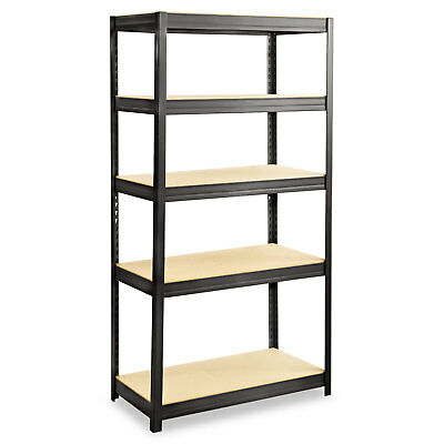 Safco Boltless Steel/Particleboard Shelving Five-Shelf 36w x 18d x 72h Black