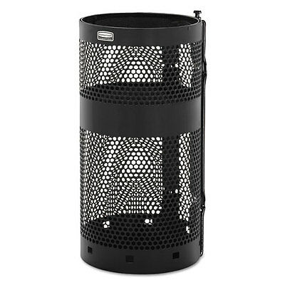 Rubbermaid Commercial Towne Pole Waste Receptacle With Wall Mount 10 gal Black