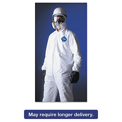 DuPont Tyvek Elastic-Cuff Hooded Coveralls HD Polyethylene White Large 25/Carton