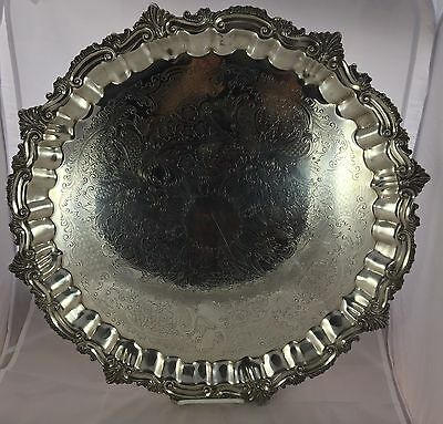 Antique Silver Plate Scalloped Rococo Edge Extra Large Footed Salver Tray Waiter