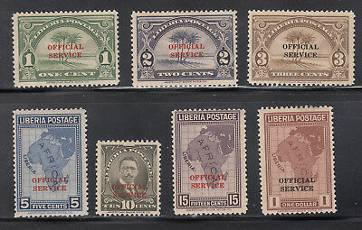 Liberia # O158-64 MINT Complete ABNCo 1928 Official Set Map Nice Gum!