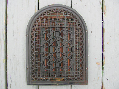 """Vintage Cast Iron Register Vent Grate Arch Dome Top Victorian 14""""H by 10 1/2""""W 1"""