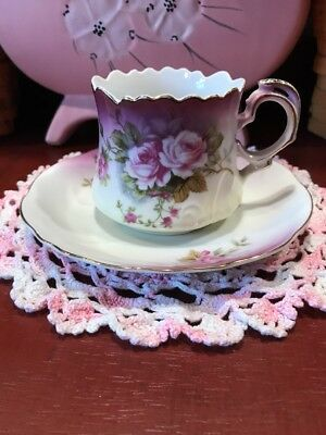 Lefton Heavenly Rose Cup And Saucer 2758 Purple & White Lovely