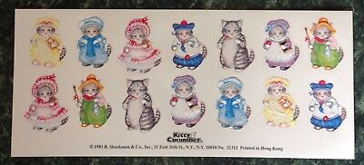 Vintage 1983 80s Embossed Cat Kitten Sticker Sheet~KITTY CUCUMBER~Hong Kong~RARE