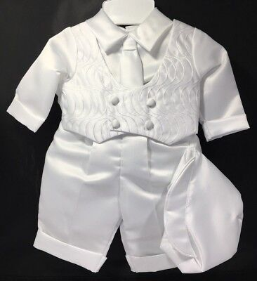 Baby Boy Christening Baptism Vest Pants Tie Hat Suit Outfit 0-3 Months White NEW