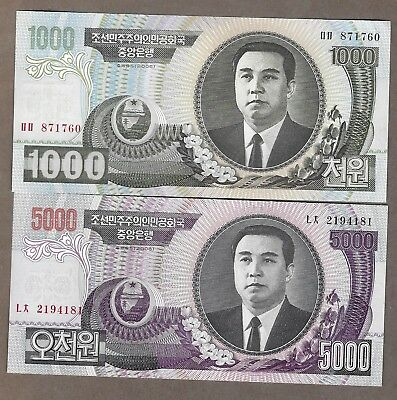 Korea 1000 & 5000 Won notes Crisp UNC