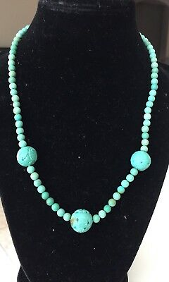Vintage Carved Turquoise Necklace Shou Chinese Jewely Estate Lot