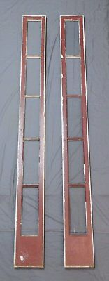 Large Pair Early Antique Entrance Door Sidelight Windows 92x9 Pegged Vtg 586-18P
