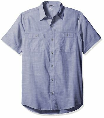 IZOD NEW Blue Mens Size Small S Short-Sleeve Chambray Button Down Shirt $50 038