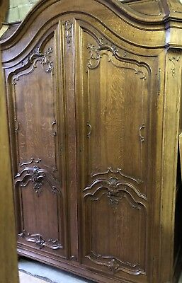 French Oak Carved Armoire Beautiful Vintage Item