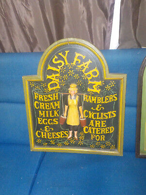 Vintage Wooden Hand Carved Carved Folk Art Sign 'Daisy Farm'