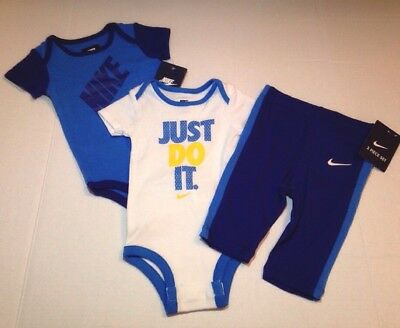Nike Baby Boy Clothes 6-9 Months Set: 2 Bodysuits & Pants Just Do It! Blue New