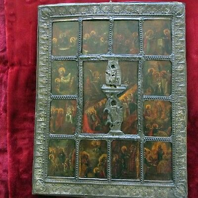 Russian Orthodox Icon early 18th Century Resurrection Of Christ With 13 Scenes