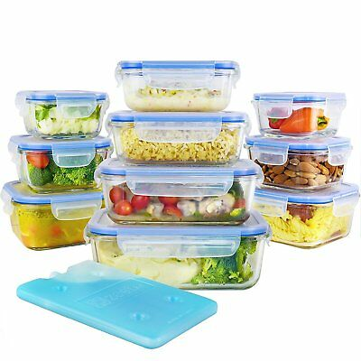 Glass Food Storage Lunch Containers Set with Airtight Locking Lids Free Ice Pack