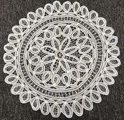 "6 Pcs 14"" White Wedding Cotton Handmade Battenburg Lace Crochet Doily Doilies"