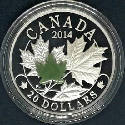 2014 Canada Majestic Maple Leaf 1 oz Silver Proof Coin $20 with Jade Crystal