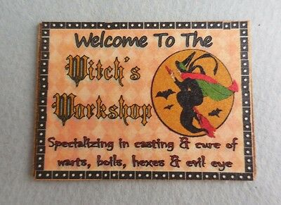 Dollhouse Miniature ~ Halloween ~ Witch's Workshop Sign