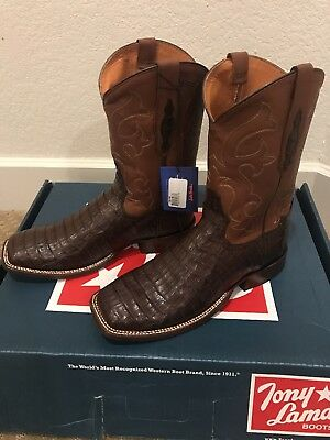 cdeb6dde220 NEW TONY LAMA Men's Caiman Belly Exotic Western Boots Size 9.5 D *IN ...