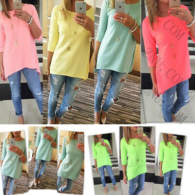 Plus Size Womens 3/4 Sleeve Summer Tops Casual T-Shirt Blouse Tee Loose Tops