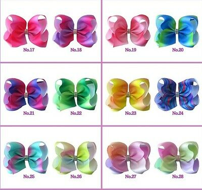 "100 BLESSING Good Girl Boutique 4.5"" Rainbow ABC Hair Bows Clip Accessories"