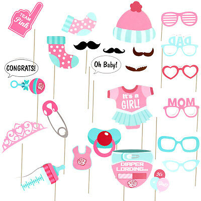 UK 25 Pcs Baby Shower Photo Booth Props Little Lady Girl New Born Party in Pink