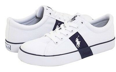 NEW Polo Ralph Lauren Giles Youth Boys Sz 3 Casual Shoes Leather White Blue Kids