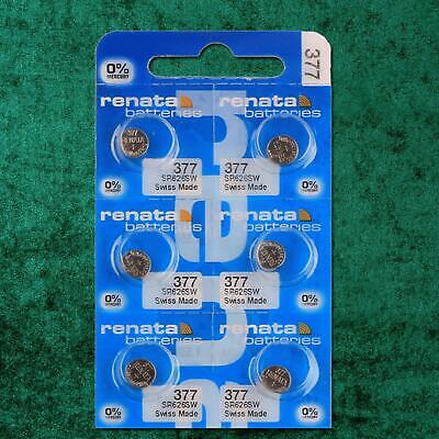6 x Renata 377 1.55v Watch Cell Batteries SR626SW Mercury Free Long Expiry 2021