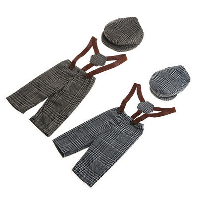 Baby Boy Little Gentleman Outfit Newborn Photography Props Plaid Costume Infant