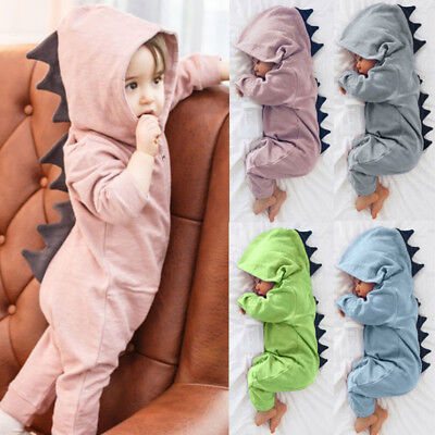 Newborn Infant Baby Boy Girl Kid Dinosaur Hooded Romper Jumpsuit Clothes Outfit