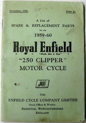ROYAL ENFIELD 250 Clipper 1959-60 Original Owners Motorcycle Parts List
