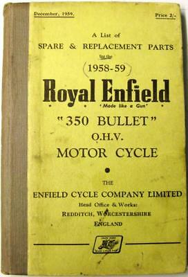 ROYAL ENFIELD 350 Bullet OHV 1959 Original Owners Motorcycle Parts List