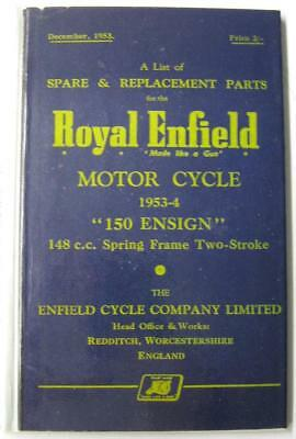ROYAL ENFIELD 150 Ensign 1953 Original Motorcycle Owners Parts List