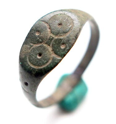 Ancient Medieval Bronze Finger Ring With Solar Ornament (STR)