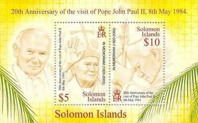 fp1 Solomon Islands Salomon In Memoriam Pope John Paul II Woytila MNH S/S 2005