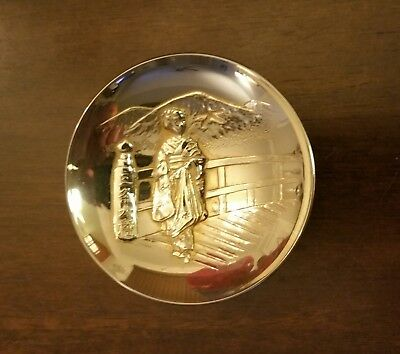 Vintage Japanese Ceremonial Sake Cup 24K GP Lady on Bridge