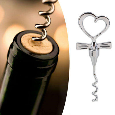 Great Metal Wine Corkscrew Love Shape Bottle Opener Party Silver Color