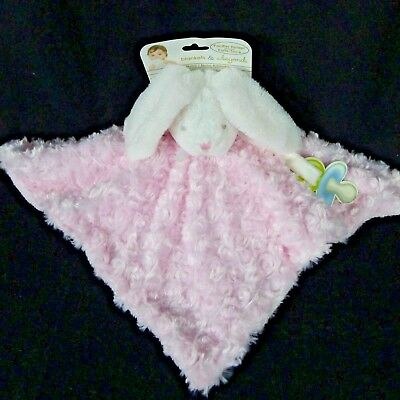 Blankets & Beyond Baby Lovey Nunu Security Blanket Pink Swirl White Bunny NWT