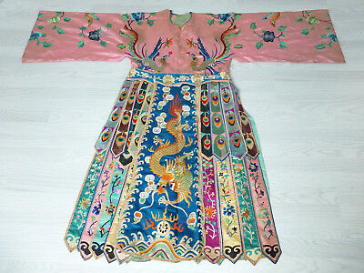 Antique Chinese Straits Peranakan circa1900 Silk Embroidered Wedding Robe FINE