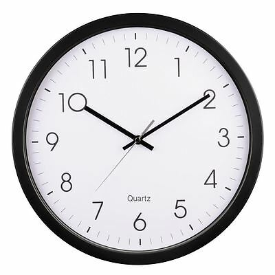 Hama Black 35cm Clear Dial Quartz Black with White Face Wall Clock