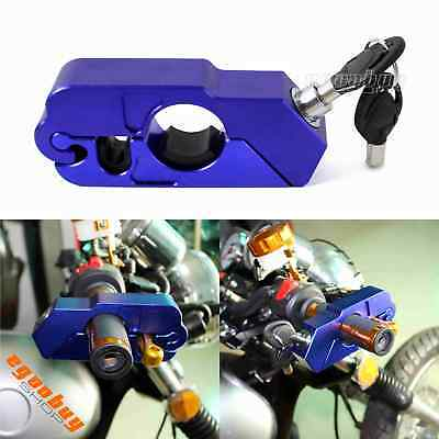 Motorcycle Handlebar Hand Grip Brake Lever Cap-Locks Anti-Theif Security Blue
