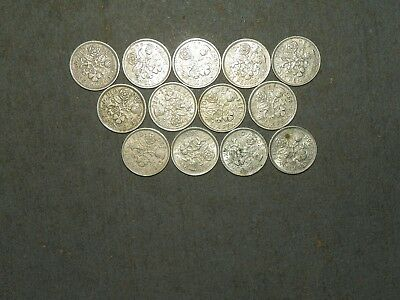 foreign coin lot #1D - Great britain - 6 pence coins - 50's & 60's - 13 coins