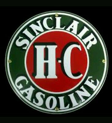 HC SINCLAIR..... GASOLINE Oil Gas Porcelain Advertising sign